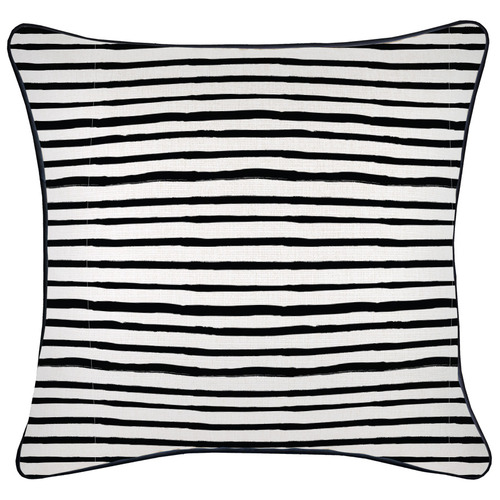 Escape to Paradise Black Piped Edge Stripe Square Outdoor Cushion