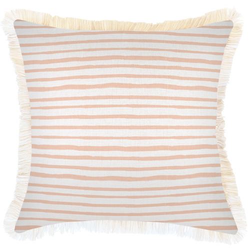 Escape to Paradise White Coastal Fringe Stripe Square Outdoor Cushion