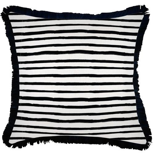 Escape to Paradise Black Coastal Fringe Stripe Square Outdoor Cushion
