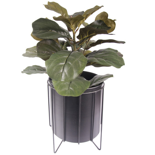 SLH House Black Mieville Metal Planter On Stand