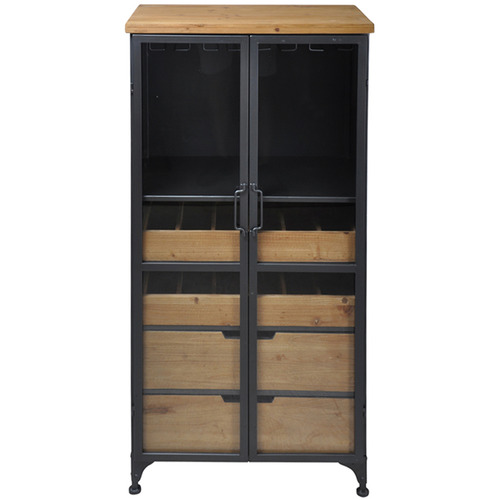 SLH House Tall Pavel Metal & Wood Wine Cabinet