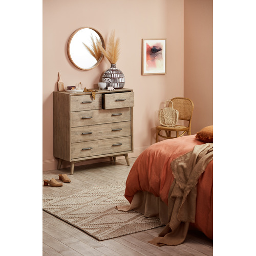 Natural Cooper Round Wooden Wall Mirror