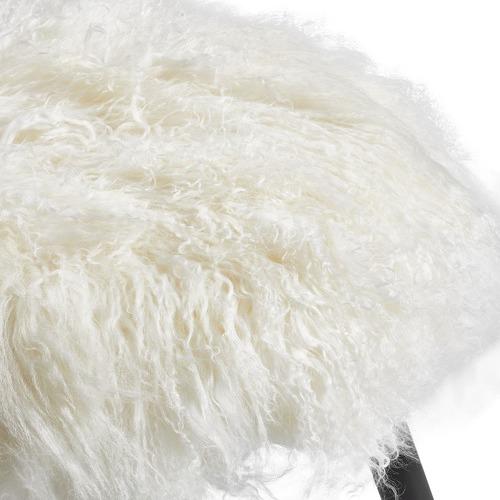 Lexington Home Leila Fluffy Mongolian Lambs Wool Stool