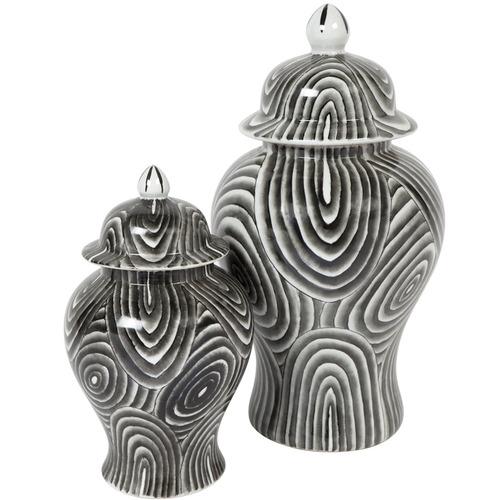 Lexington Home Black Langworth Porcelain Temple Jar