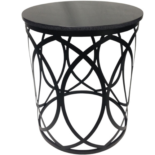 Tribal Expressions Black Drum Side Table with Granite Top