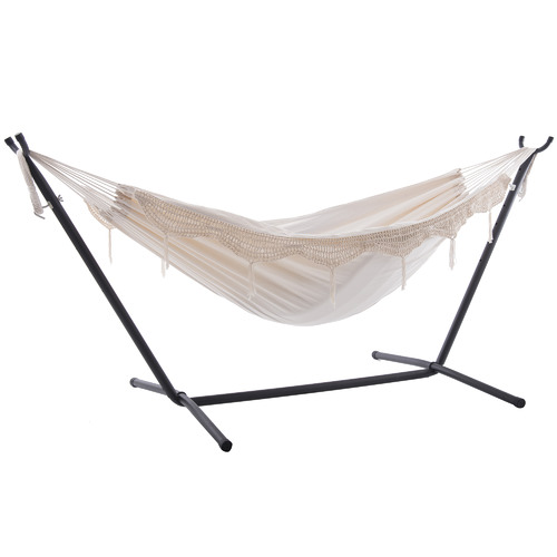Vivere Hammocks Fringe Deluxe Cotton Double Hammock with Stand