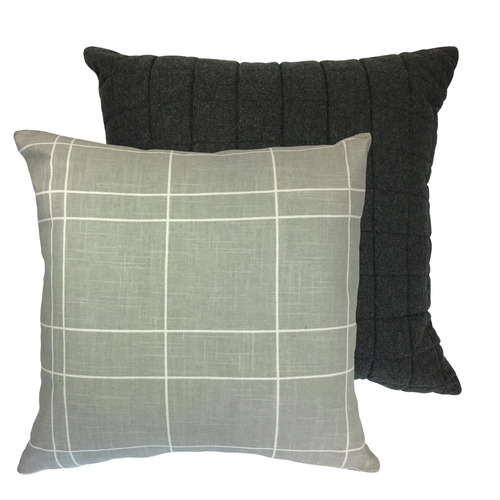 Madras Link Linear Copenhagen Reversible Linen-Blend Cushion