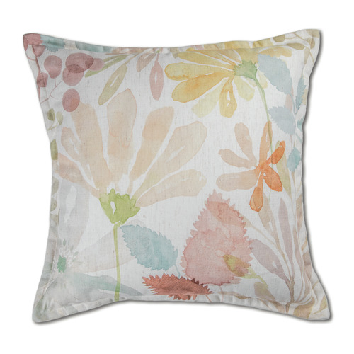 Madras Link Windflowers Linen-Blend Square Cushion