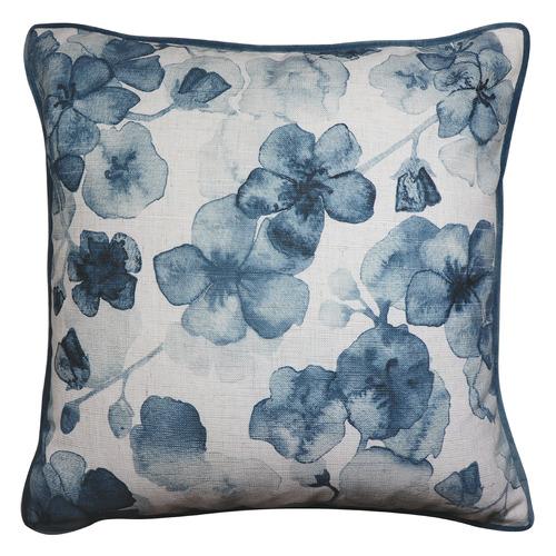 Madras Link Cherry Blossom Linen-Blend Cushion