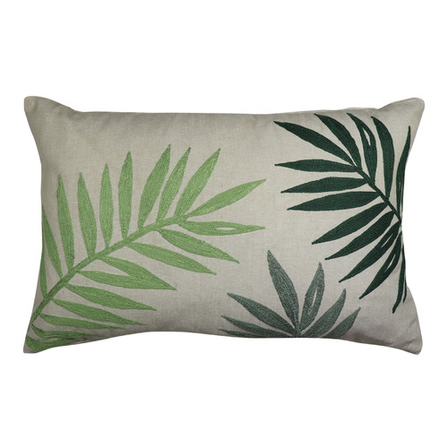 Madras Link Green Palm Embroidered Cotton Breakfast Cushion