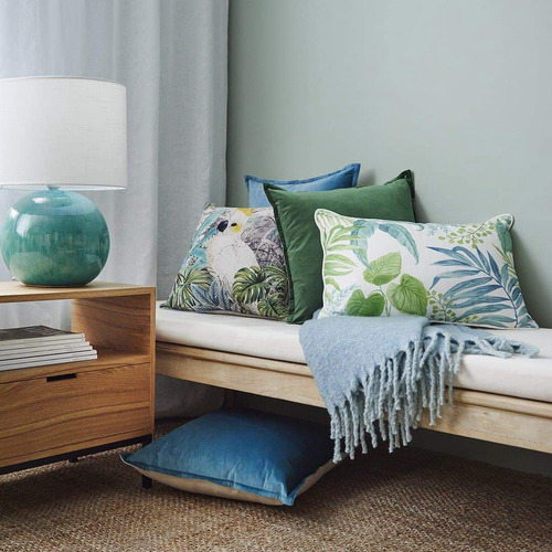 Madras Link Aqua & Green Botanical Cotton Breakfast Cushion