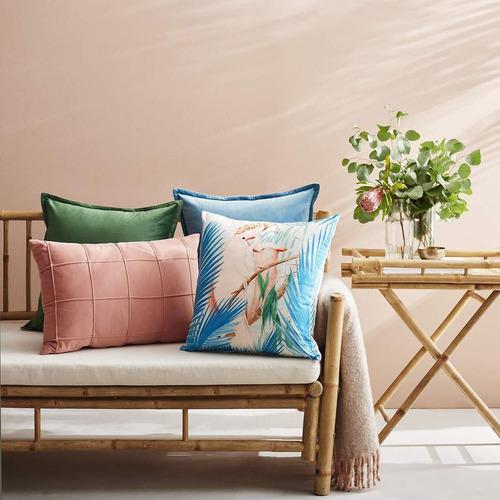 Pink & Aqua Cockatoo Velvet Cushion