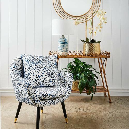 Madras Link Blue Leopard Velvet Cushion