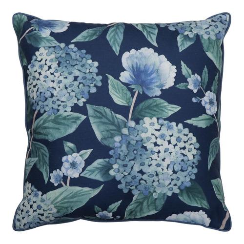 Madras Link Hydrangea Linen-Blend Cushion