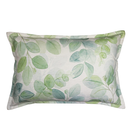 Madras Link Green Gum Leaf Linen-Blend Breakfast Cushion