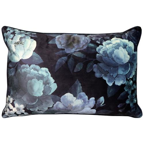 Ink Floral Eclipse Rectangular Velvet Cushion
