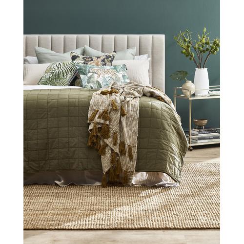 Madras Link Teal Jungle Leopard Linen-Blend Breakfast Cushion