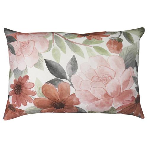 Red & Orange Fleur Rectangular Linen-Blend Cushion