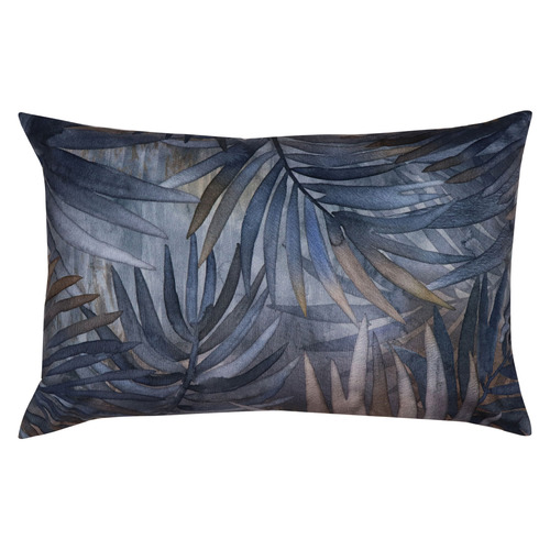 Blue & Ochre Jordan Rectangular Velvet Cushion