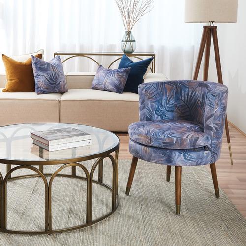 Blue & Ochre Jordan Square Velvet Cushion