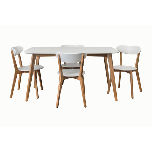 Estudio Furniture White Oslo 5 piece Dining Set