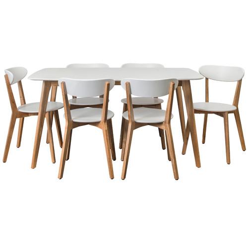 Archibald 7 Piece White Dining Set: Estudio Furniture Long White Oslo 7 Piece Dining Set