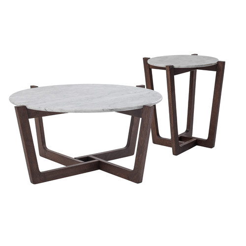 White Marble Coffee Table Set: Monterey White Marble Coffee & Side Table Set