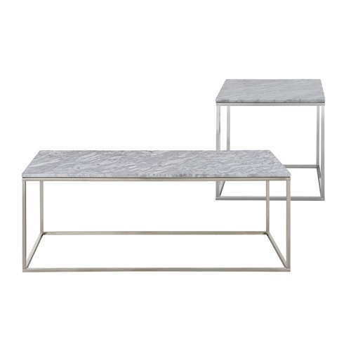 White Marble Coffee Table Set: Annecy White Marble Coffee & Side Table Set