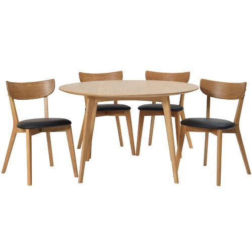 Round Dining Table With 4 Chairs: 4 Seater Round Fjord Dining Table & Chair Set