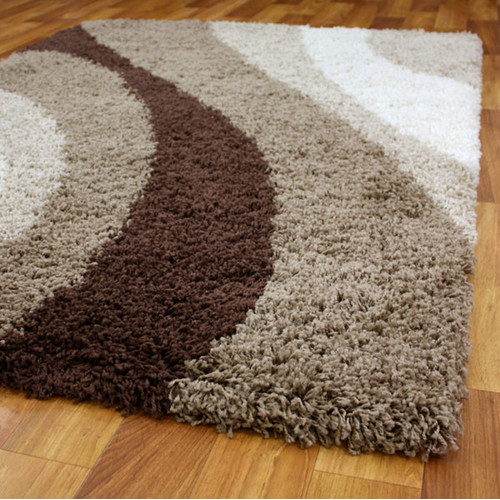 Cosmo Shag Ivory Beige And Brown Shag Rug Temple Amp Webster