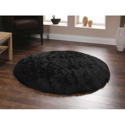 Deluxe Shag Black Round Rug Temple Amp Webster