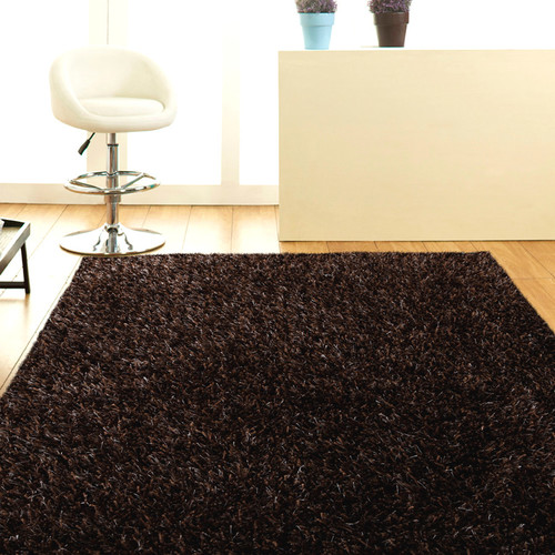 Network Rugs Dark Brown Shag Tufted Rug