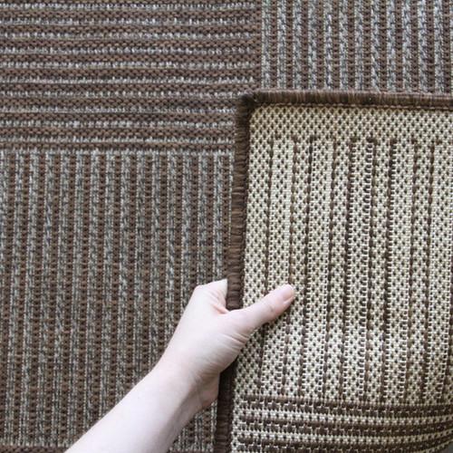 Network Rugs Indoor Outdoor Box Design Rug Brown
