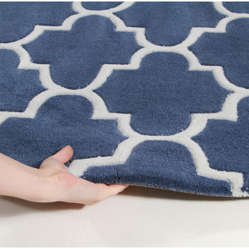 Network Rugs Deep Blue Lattice Acrylic Rug