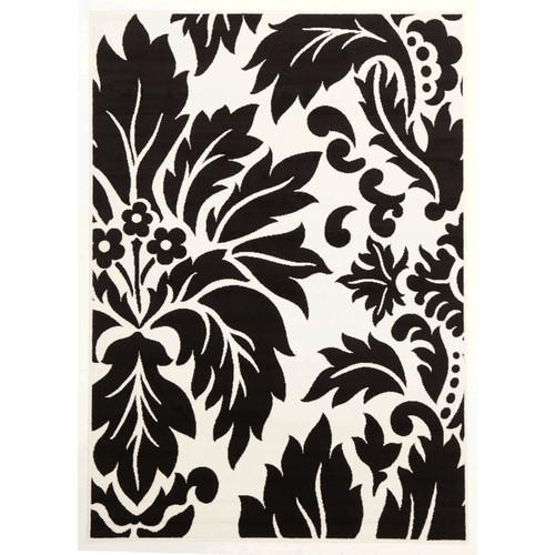 network viva modern leave black white contemporary rug reviews