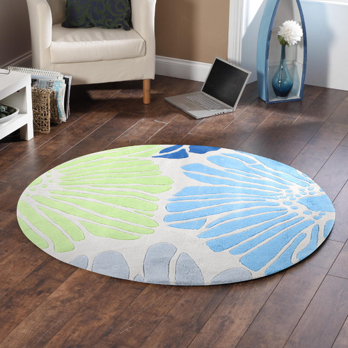 Network Rugs Blue Tropical Hand Tufted Round Rug