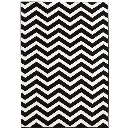 Black And White Chevron Bathroom Rug: Modern Chevron Design Black/White Rug