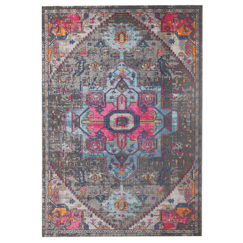 Network Rugs Grey & Pink Power Loomed Distressed Modern Rug