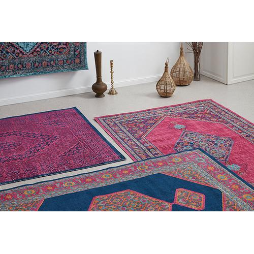 navy pink power loomed distressed modern rug temple webster. Black Bedroom Furniture Sets. Home Design Ideas
