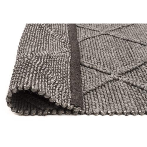 Grey Hand Woven Flatweave Wool & Viscose Rug
