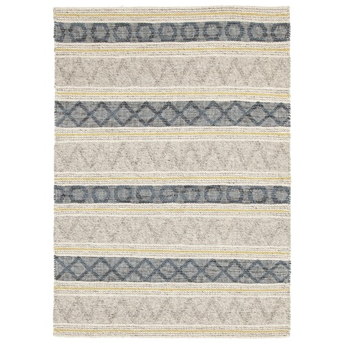 Network Rugs Jean Blue, Yellow & Grey Hand Loomed Rug