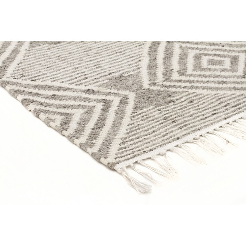 Network Rugs Gail Grey & Natural White Hand Loomed Reversible Rug