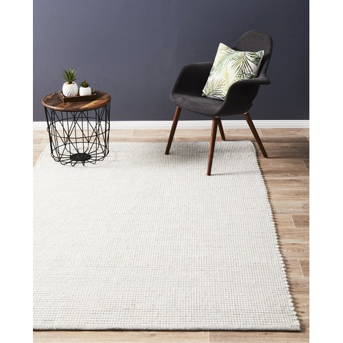 Grey & White Felted Wool Scandi Rug