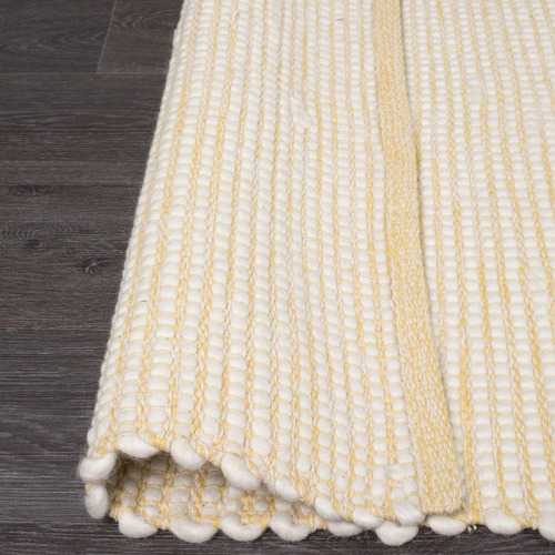 Network Rugs Yellow & White Felted Wool Scandi Rug