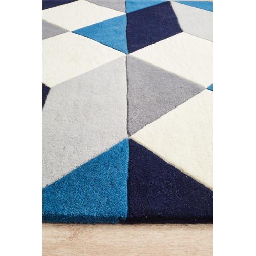 Digital Designer Wool Blue Grey White Rug