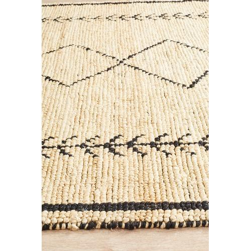 Network Rugs Shikra Natural & Black Woven Jute Rug
