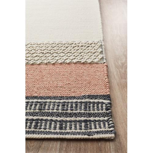 Network Rugs Peach & Denim Wool Textured Astrid Rug