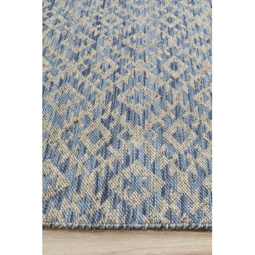 Network Rugs Blue & Linen Hand-Woven Modern Tribal Rug