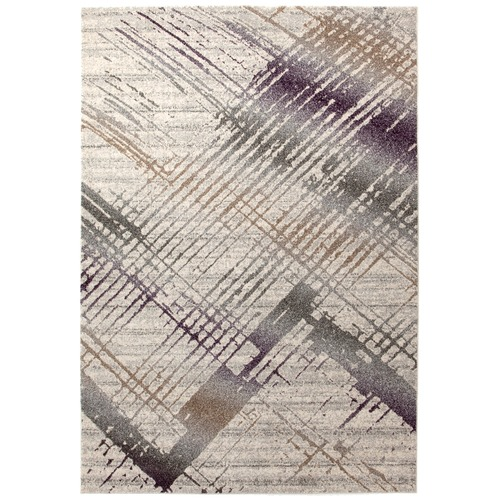 Network Rugs Richie Violet, Grey & Gold Durable Modern Rug