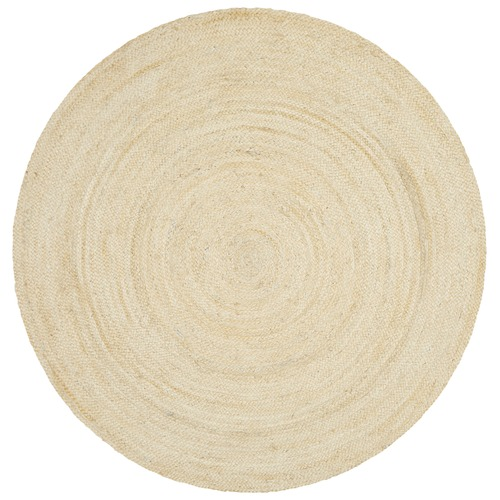 Round Jute Natural Rug Bleached